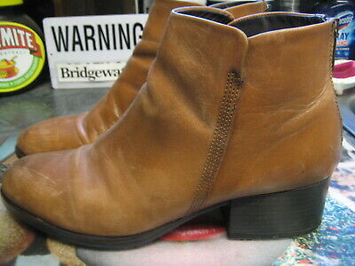 Clarks Elvina Dawn Tan Leather Back Zip Low Chunky Heel Ankle Boots Uk 6.5 • 4.99£