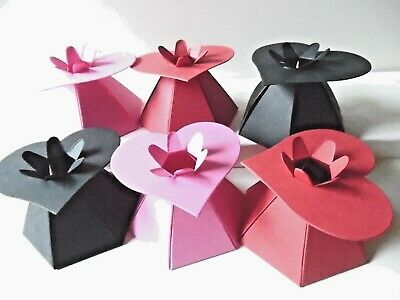 HEART Top Favour Boxes  X 10 Gift Box Wedding Baby Shower Party Valentines Day • 4.60£