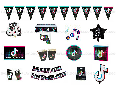 Tik Tok Themed - Party Supplies -Tableware - Decorations - Banners - Balloons • 3.49£