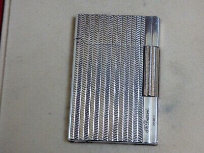 £245 • Buy S T Dupont Gatsby Lighter - Silver Plated - Herringbone Design - Boxed + Papers