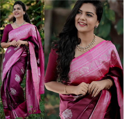 Kanchipuram Silk Saree Designer Indian Sari Ethnic Pakistani Formal Party Wear • 22.99£