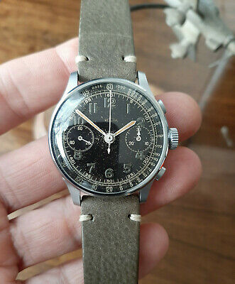 $ CDN1526.04 • Buy Vintage WWII Era Black Dial Recta Steel Chronograph Valjoux 22 Military 1940's