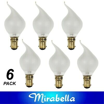 AU29 • Buy 6 X 40W Incandescent Flame Tip Light Globe Bulbs B15 Small Bayonet Pearl Frosted