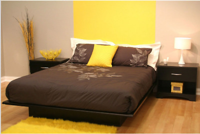$ CDN350.15 • Buy Queen Size Modern Platform Bed Frame In Black Wood Finish