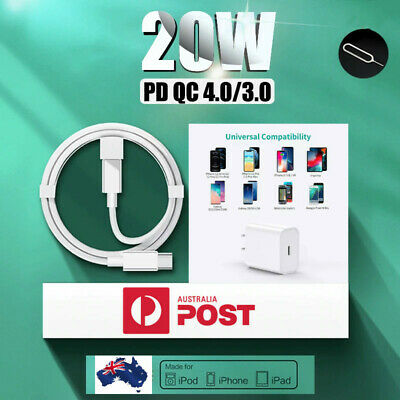 AU7.95 • Buy For IPhone 12 Pro Max 11 IPad/20W USB Type-C Wall Fast Charger PD Power Adapter