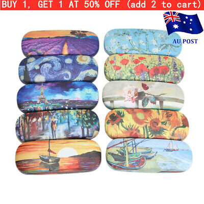 AU10.99 • Buy Oil Painting Glasses Case Box Women Hard Leather Reading Glasses Sunglasses Case