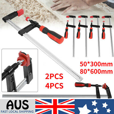 AU15.89 • Buy 4X F Clamps Woodworking Bar Clips Quick Slide DIY Hand Tool 50 * 300mm 80*600mm