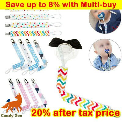 4X Dummy Clips Baby Boys Girls Soother Chain Holder Strap Pacifier Baby Care UK • 3.99£
