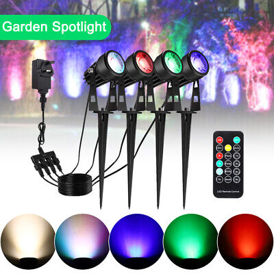 4 Packs RGB Garden Spotlights 3W COB LED Colour Changing  Outdoor Landscape Lamp • 4.99£