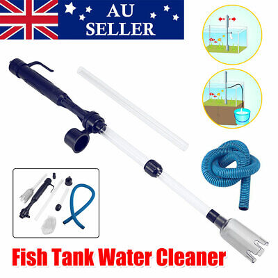 AU16.95 • Buy Battery Siphon Vacuum Aquarium Fish Tank Cleaner Pump Water Change Gravel Clean