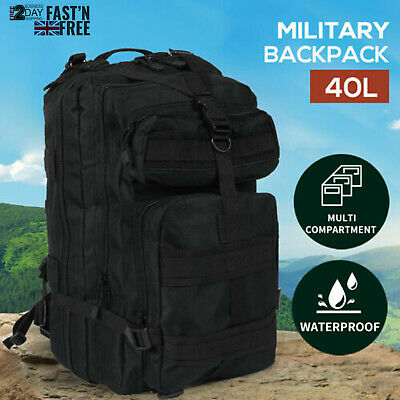 40L Military Tactical Backpack Rucksack Hiking Camping Outdoor Trekking Army Bag • 18.39£