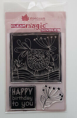 Woodware Clear Stamp Set - Chicken And Happy Birthday • 4.50£