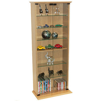 BOSTON- Glass Collectable Display Cabinet  CD DVD Storage Shelves  Beech MS1013 • 124.99£