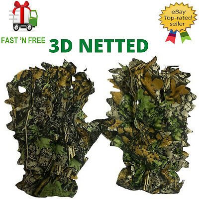 £8.99 • Buy 3d Leaf Net Camo Gloves Realtree Camouflage Non-slip Shooting Hunting Paintball