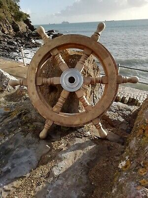£38.95 • Buy Ships Wheel Mango Wood 46 Cm Across Wooden With Metal Centre Maritime Pirate 18