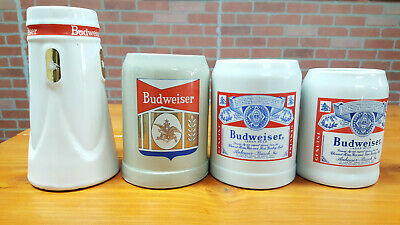 $ CDN43.74 • Buy Lot Of 4 Budweiser Beer Lager Ceramic Stein 5 Inch, 7 Inch, And 4.5 Inch