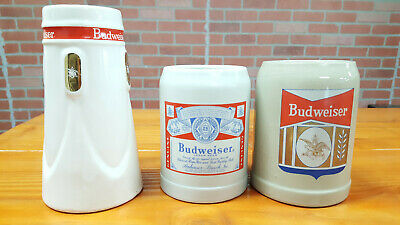 $ CDN34.32 • Buy Lot Of 3 Budweiser Beer Lager Ceramic Stein 7 And 5 Inch