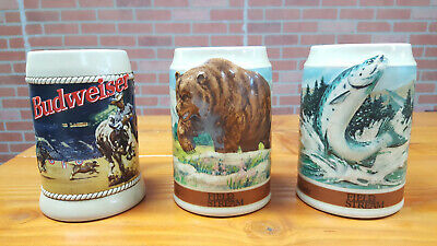 $ CDN68.74 • Buy Lot Of 3 Budweiser Stein Wildlife Series Ceramic Salmon + Bear And Rodeo