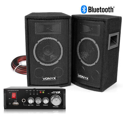 HiFi Speakers And Stereo Amplifier With Bluetooth USB 6  Home Audio Music System • 94£