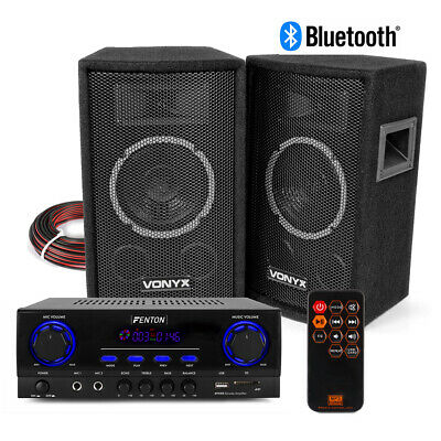 SL6 HiFi Speaker Set And Stereo Amplifier, Bluetooth MP3 Home Audio Music System • 115£