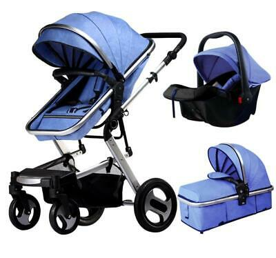 View Details Baby Pram 3 In 1 Pushchair Stroller From Birth With Car Seat Travel Buggy -Khaki • 149.99£