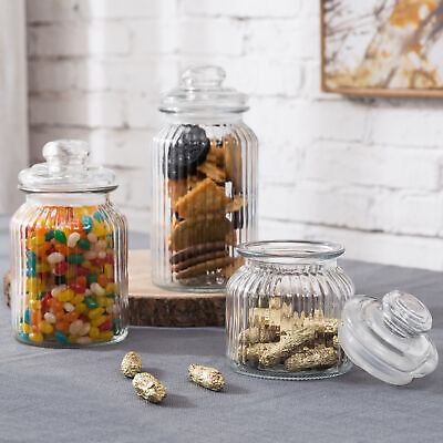 MyGift Set Of 3 Vintage Ribbed Glass Storage Canister Jars With Airtight Lids • 19.51£