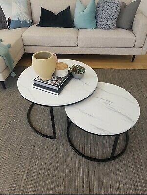 AU310 • Buy Faux White Marble Nesting Set 2in1 Coffee Table Modern Round Living Room Accent