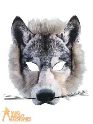 £6.99 • Buy Adult Wolf Face Mask With Fur Animal Halloween Book Week Fancy Dress Accessory