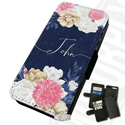 Printed Faux Leather Flip Phone Case IPhone - Personalised Navy-Script-Flowers • 9.75£