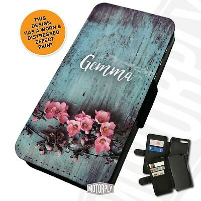 Printed Faux Leather Flip Phone Case For IPhone - Personalised Pink Blossom • 9.75£