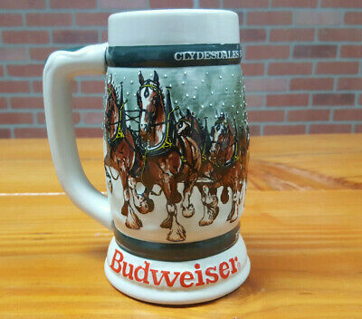$ CDN57.42 • Buy 1982 Budweiser 50th Anniversary Clydesdale's Holiday Beer Stein Mug 1933-1983
