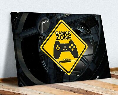 Gamer Zone Canvas Wall Art Print Artwork Picture Framed Kids Room • 16.99£