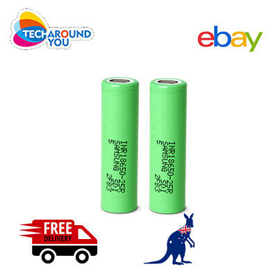 AU17.26 • Buy 2x Samsung 25R 2500mAh INR Lithium Rechargeable Battery 20A High Drain Authentic