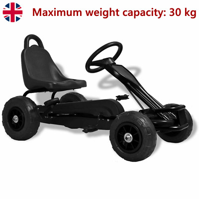 £106.36 • Buy Pedal Go-Kart With Pneumatic Tyres Black Kids Racing Push Play Vehicle Gift New