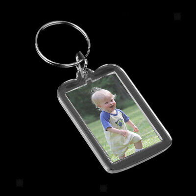 £4.03 • Buy 10x Oblong Blank Clear Acrylic Keyring Make Your Own Photo Keychain 38*25mm