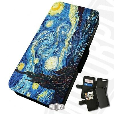 Printed Faux Leather Flip Phone Case For IPhone -  Starry-Night-Van-Gogh • 9.75£