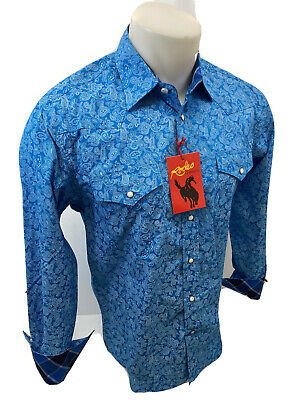 $29.97 • Buy Mens RODEO WESTERN BLUE WHITE PAISLEY Long Sleeve Woven SNAP UP Shirt Cowboy 120