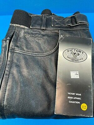 NWT Polaris Victory Black Leather Motorcycle Riding Pants Size 12 • 36.54£