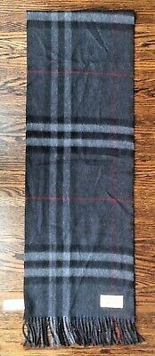 $275 • Buy BURBERRY Giant Check Cashmere-Scotland Fringed Scarf Charcoal 12  By 74