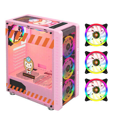 AU99.99 • Buy PC Gaming Computer Case 330-9 ATX Tower Desktop With 3 RGB Fan[Pink]
