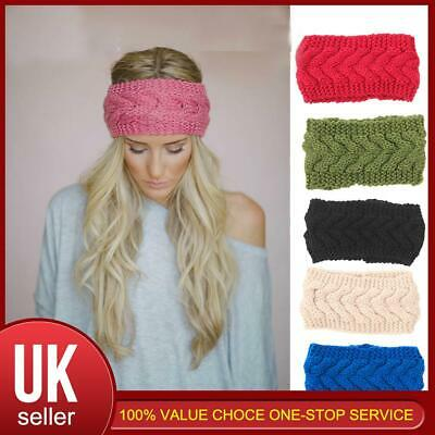 Women Knitted Knot Headband Head Wrap Hair Band Thermal Winter Crochet Turban • 3.75£