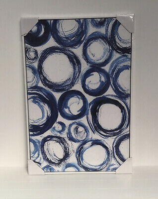 AU110 • Buy Canvas Print Framed Classic Abstract Circles 60x90cm White Frame
