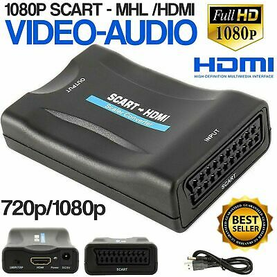 SCART To HDMI Adapter 1080P HD Video Audio Upscale Converter USB Cable TV DVD • 7.07£