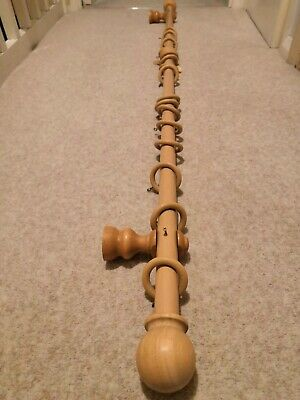 28mm Wooden Curtain Pole Light Oak Length 147cm With Rings & Brackets • 12.99£