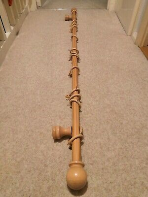 28mm Wooden Curtain Pole Light Oak Length 141cm With Rings & Brackets • 12.99£