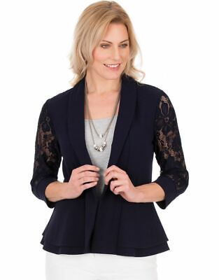 £24.50 • Buy Three Quarter Sleeve Lace Trim Cover Up - Ladies Womens - Klass Collection
