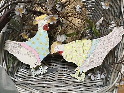 £4.80 • Buy Gisela Graham Eater Chicken Hen In Hats And Boots Large Wooden Pastel 17cm Decor