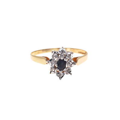 Pre-Owned 9ct Gold Diamond Sapphire Cluster Ring • 68.25£