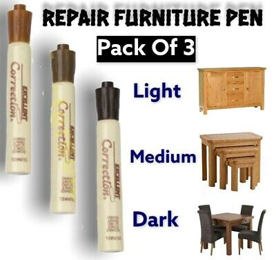 3PC Furniture Touch Up Pen For Remove Marks Scratches Laminate Wood Floor D/M/L  • 3.49£
