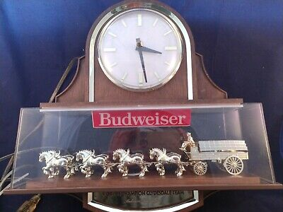 $ CDN1442.88 • Buy Vintage Budweiser Lanshire Clock Clydesdale Horse Beer Sign Antique Rare Item